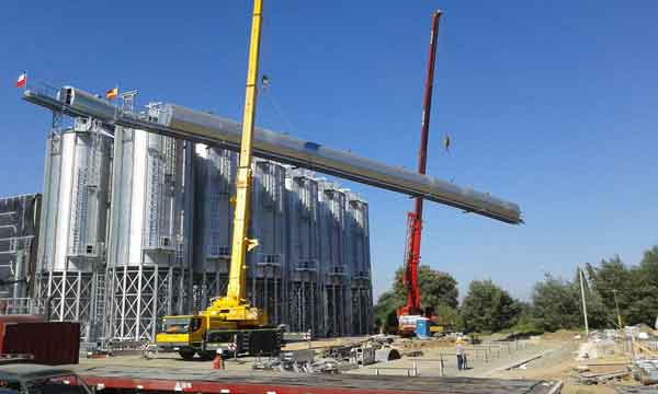 Silos for the storage of hazelnuts