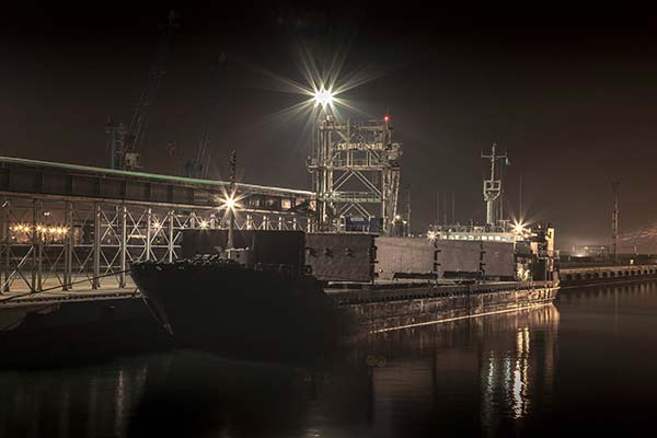 Grain terminal by night