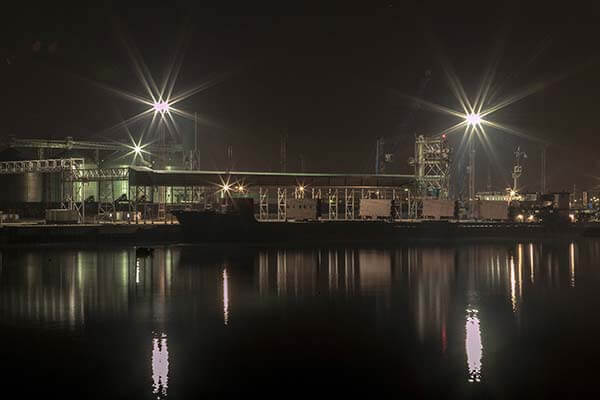 Kazakhstan grain terminal by night