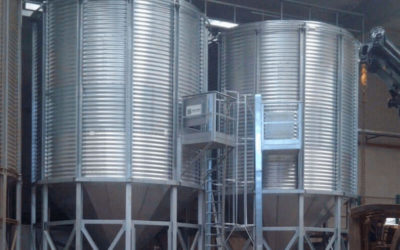 Silos for the storage of almonds in Cordoba, Spain